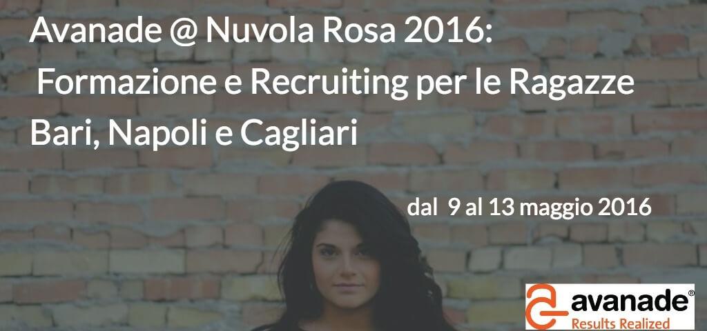 Avanade @ Nuvola Rosa 2016: formazione e recruiting per le ragazze a Bari, Napoli e Cagliari