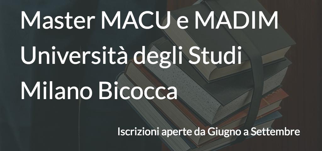Master MACU e MADIM Università degli Studi Milano - Bicocca
