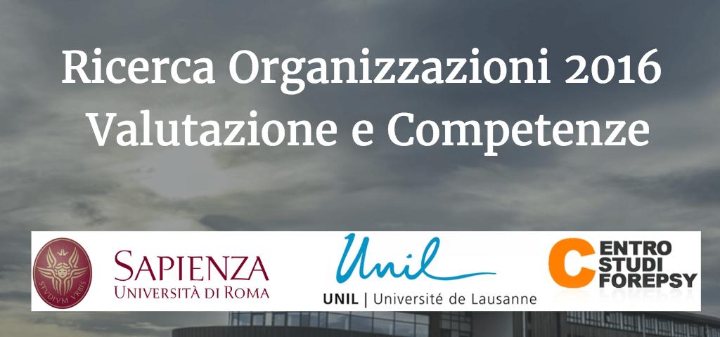 Ricerca Organizzazioni 2016 - Valutazione e Competenze