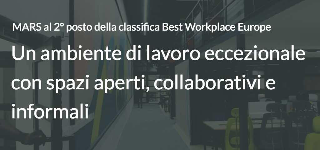 MARS al 2° posto della classifica Best Workplace Europe