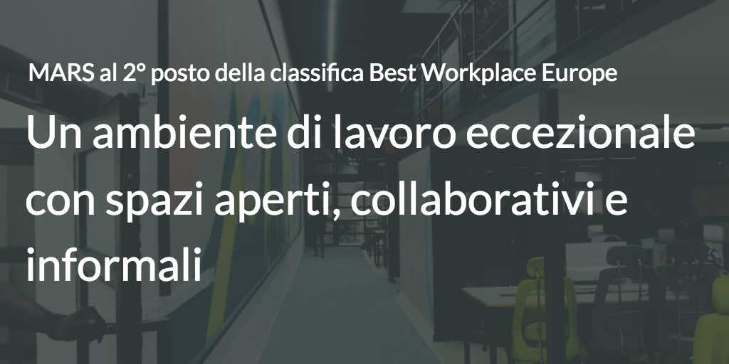 MARS al 2° posto della classifica Best Workplace Europe