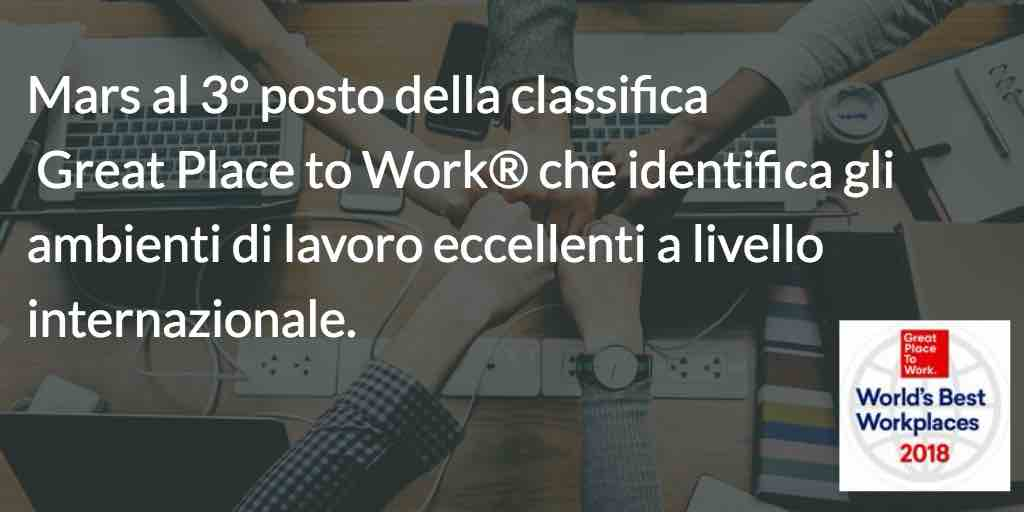 MARS SUL PODIO DEI GREAT PLACE TO WORK® MONDIALI!