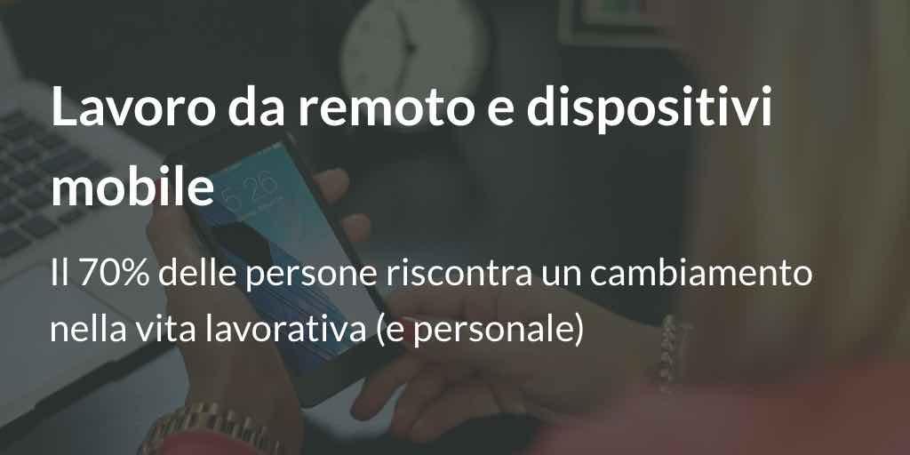 Lavoro da remoto e dispositivi mobile: il 70% delle persone riscontra un cambiamento nella vita lavorativa (e personale)