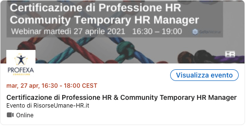 Webinar Certificazione di Professione HR Community Temporary HR Manager